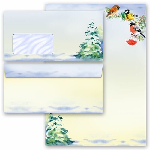 Briefpapier-Sets WINTERZEIT (Variante A) 200-tlg. Set - DL (mit Fenster)