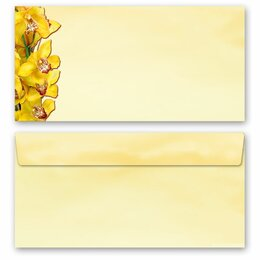 50 patterned envelopes YELLOW ORCHIDS in standard DIN...