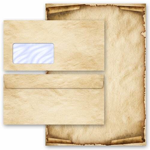 Briefpapier Set OLD STYLE - 40-tlg. DL (mit Fenster)