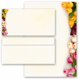 20-pc. Complete Motif Letter Paper-Set COLORFUL TULIPS