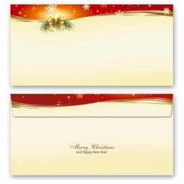 10 patterned envelopes PEACEFUL CHRISTMAS in standard DIN...