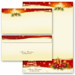 20-pc. Complete Motif Letter Paper-Set PEACEFUL CHRISTMAS