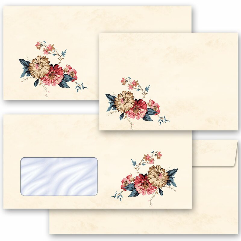 10 patterned envelopes FLOWER MAIL in C6 format windowless
