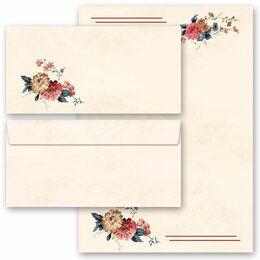 20-pc. Complete Motif Letter Paper-Set FLOWER MAIL