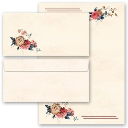40-pc. Complete Motif Letter Paper-Set FLOWER MAIL