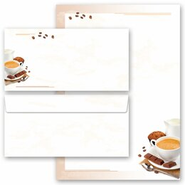 20-pc. Complete Motif Letter Paper-Set COFFEE WITH MILK