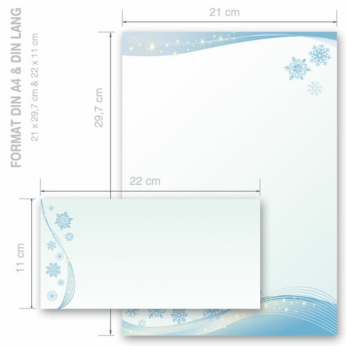 Briefpapier-Sets SCHNEEFLOCKEN Wintermotiv