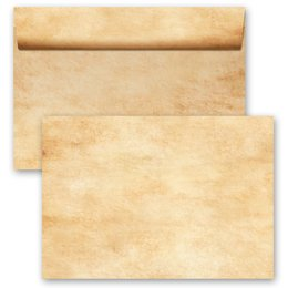 10 patterned envelopes PARCHMENT in C6 format (windowless)