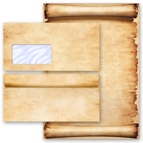 Briefpapier Set PERGAMENT - 200-tlg. DL (mit Fenster)
