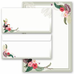 20-pc. Complete Motif Letter Paper-Set SUMMER BRANCHES