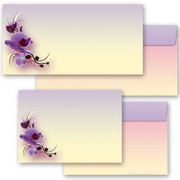 10 patterned envelopes ORCHID BLOSSOMS in standard DIN...