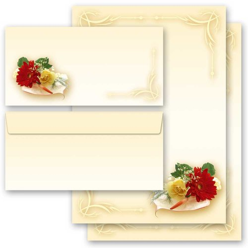 ohne Fenster Motiv-Briefpapier-Set 40-tlg DL BLUMENBUKETT