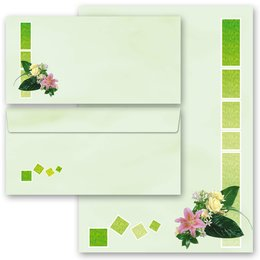 Motif Letter Paper-Sets FLOWERS GREETINGS