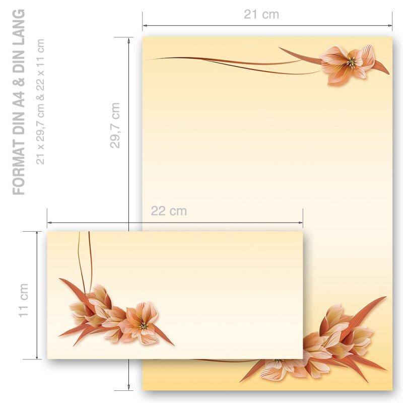 Set ohne Fenster DL Briefpapier-Set GELBE ORCHIDEEN 20-tlg