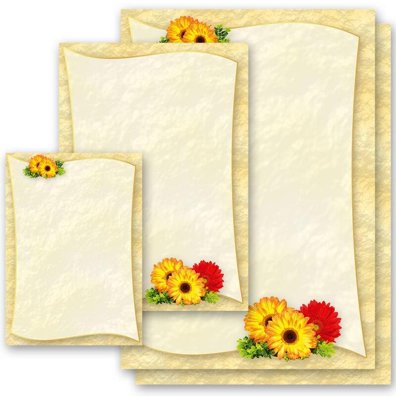 DIN A4 Format 20 Blatt Motiv-Briefpapier GERBERA