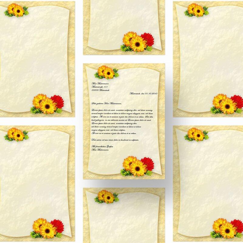 DIN A4 Format 50 Blatt Motiv-Briefpapier SUNFLOWERS