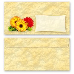 50 patterned envelopes GERBERA in standard DIN long...
