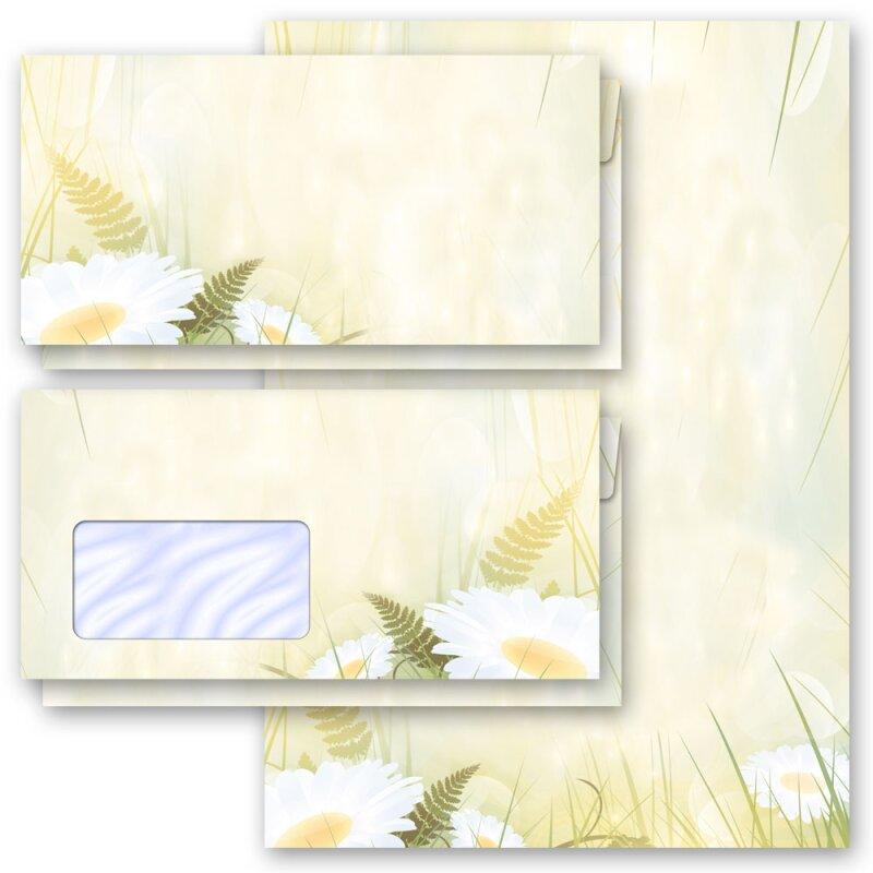 DL ohne Fenster Motiv-Briefpapier-Set PFIRSICHBLÜTEN 20-tlg Set