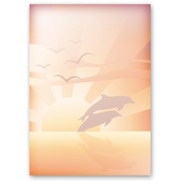 Motif Letter Paper! DOLPHINS AT SUNSET 20 sheets DIN A4