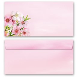 10 patterned envelopes PEACH BLOSSOMS in standard DIN...