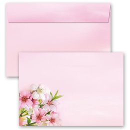 10 patterned envelopes PEACH BLOSSOMS in C6 format...