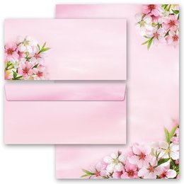 20-pc. Complete Motif Letter Paper-Set PEACH BLOSSOMS