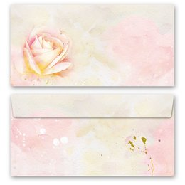 10 patterned envelopes ROSE BLOSSOMS in standard DIN long...