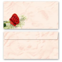 10 patterned envelopes RED ROSE in standard DIN long...
