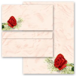 20-pc. Complete Motif Letter Paper-Set RED ROSE