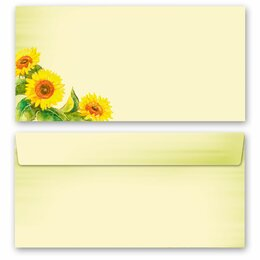 10 patterned envelopes SUNFLOWERS in standard DIN long...