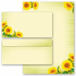 40-pc. Complete Motif Letter Paper-Set SUNFLOWERS