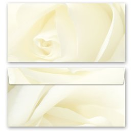 10 patterned envelopes WHITE ROSE in standard DIN long...