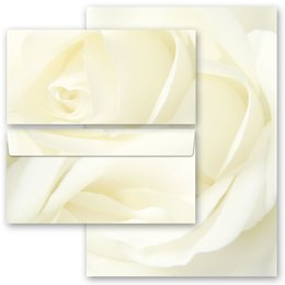 20-pc. Complete Motif Letter Paper-Set WHITE ROSE