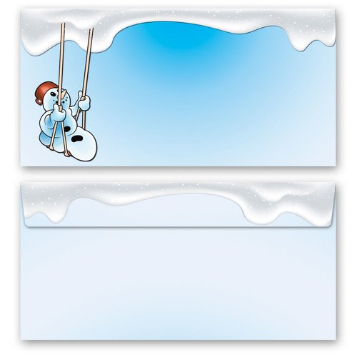 50 patterned envelopes HAPPY SNOWMAN in standard DIN long format (windowless)