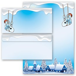 20-pc. Complete Motif Letter Paper-Set HAPPY SNOWMAN