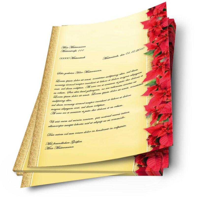 DIN A5 Format 50 Blatt Motiv-Briefpapier ROTE WEIHNACHTSSTERNE
