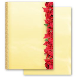 Motif Letter Paper! RED CHRISTMAS STARS 20 sheets DIN A4