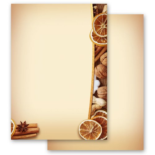 Motif Letter Paper! CHRISTMAS NUTS AND ORANGES
