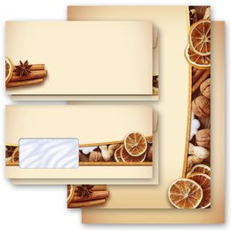 Motif Letter Paper-Sets CHRISTMAS NUTS AND ORANGES