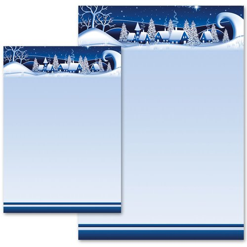 Motif Letter Paper! WINTER VILLAGE – BLUE
