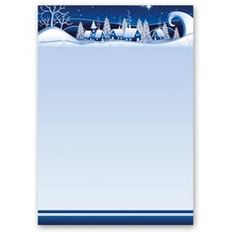 Motif Letter Paper! WINTER VILLAGE – BLUE 20 sheets...