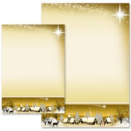 Motif Letter Paper! WINTER VILLAGE – GOLDEN