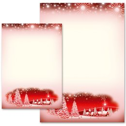 Motif Letter Paper! WINTER VILLAGE – RED