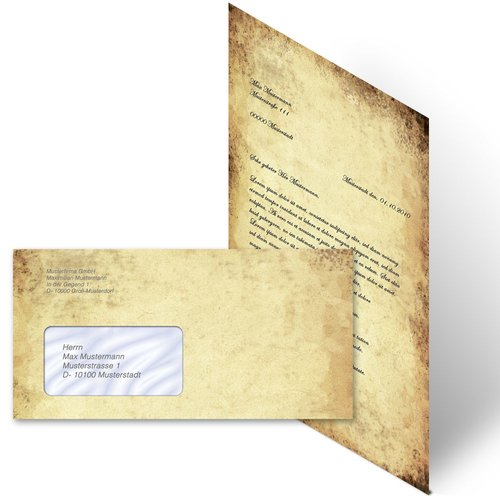 Motiv-Briefpapier Set ALTES PAPIER - 40-tlg. DL (mit Fenster)