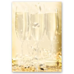 Motif Letter Paper! CHAMPAGNE GLASSES 20 sheets DIN A4