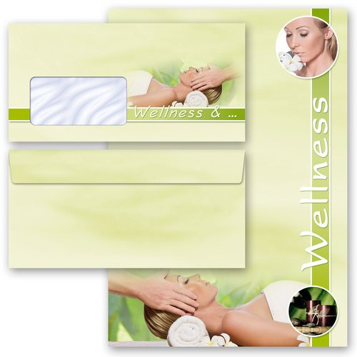 Briefpapier Set WELLNESS & BEAUTY - 100-tlg. DL (mit Fenster)