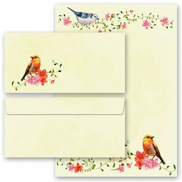 40-pc. Complete Motif Letter Paper-Set BIRDS CHIRPING