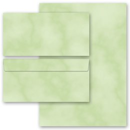 20-pc. Complete Motif Letter Paper-Set MARBLE GREEN