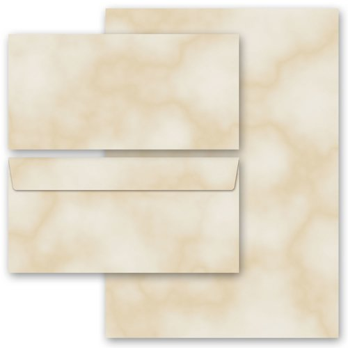 Briefpapier-Sets MARMOR BEIGE DL (ohne Fenster) Briefpapier Set, 20 tlg.
