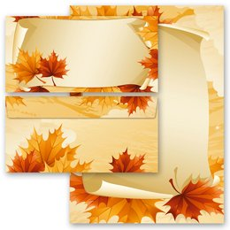 20-pc. Complete Motif Letter Paper-Set AUTUMN LEAVES